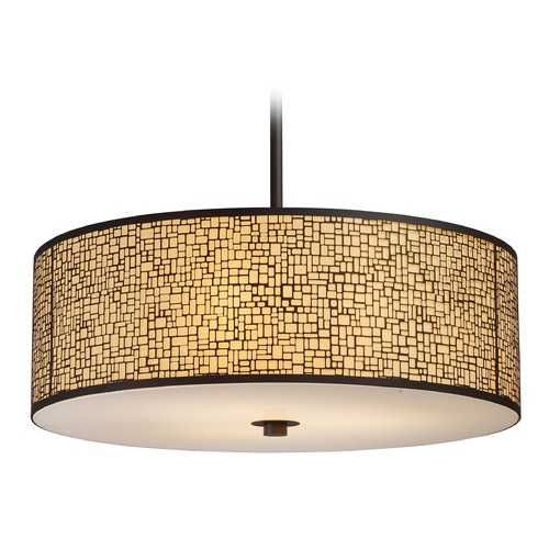 Elk Lighting Elk Lighting Medina Aged Bronze LED Pendant Light with Drum Shade 31047/5-LED