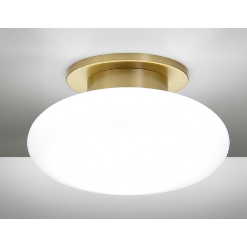 Holtkoetter Lighting Holtkoetter Modern Semi-Flushmount Light with White Glass in Brushed Brass Finish 5401 BB SW