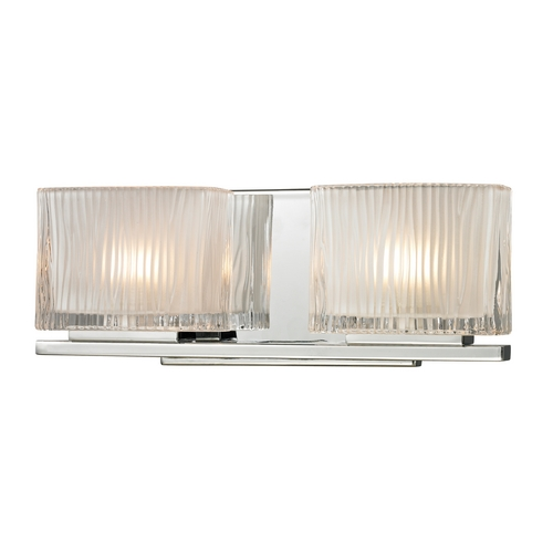 Elk Lighting Modern Bathroom Light with White Glass in Polished Chrome Finish 11621/2