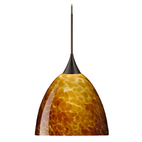 Besa Lighting Besa Lighting Sasha Bronze LED Pendant Light with Bell Shade 1XT-757018-LED-BR