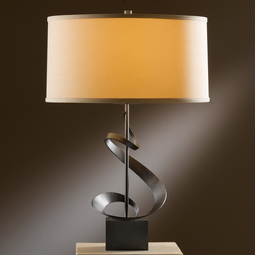 Hubbardton Forge Lighting Hubbardton Forge Lighting Gallery Dark Smoke Table Lamp with Drum Shade 273030-07-274