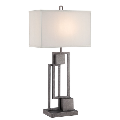 Lite Source Lighting Lite Source Lighting Volterra Antique Silver Table Lamp with Rectangle Shade LS-22564
