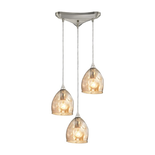 Elk Lighting Elk Lighting Niche Satin Nickel Multi-Light Pendant with Bowl / Dome Shade 31595/3