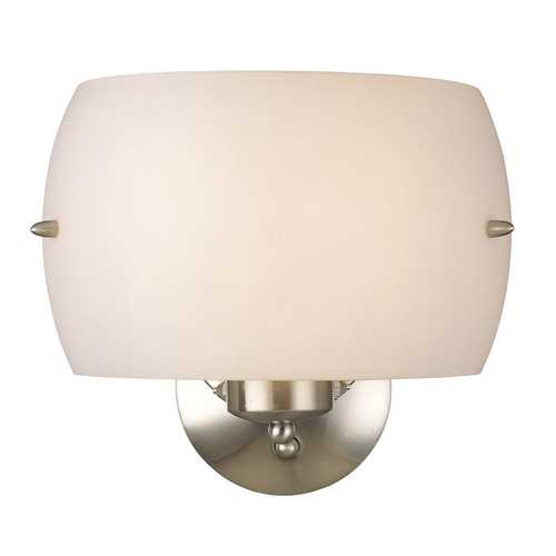 George Kovacs Lighting Modern Sconce Wall Light with White Glass in Brushed Nickel Finish P582-084
