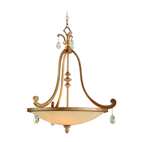 Corbett Lighting Pendant Light with Beige / Cream Glass in Antique Roman Silver Finish 71-74