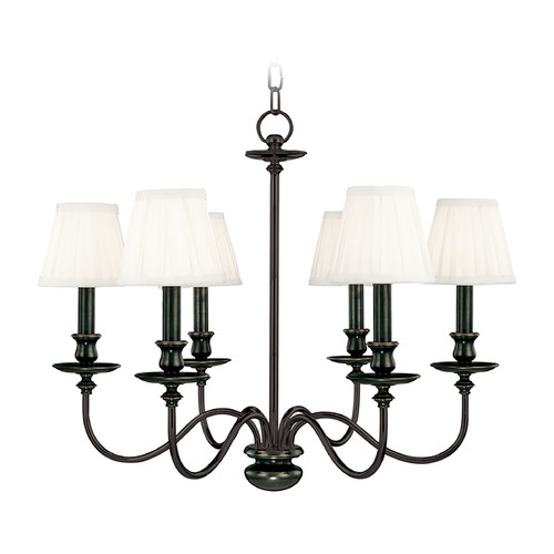 Hudson Valley Lighting Chandelier with White Shades in Old Bronze Finish 4036-OB