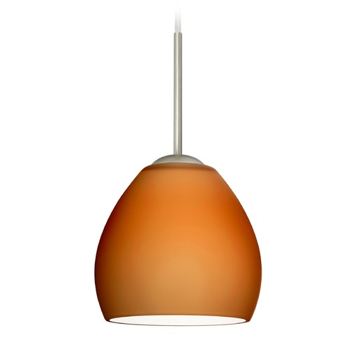 Besa Lighting Besa Lighting Bolla Satin Nickel Mini-Pendant Light with Bowl / Dome Shade 1BT-412280-SN