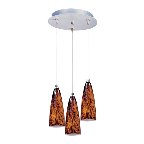 ET2 Lighting Modern Low Voltage Multi-Light Pendant Light with Amber Glass and 3-Lights E94643-102SN