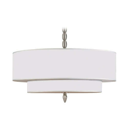 Crystorama Lighting Drum Pendant Light with White Shades in Satin Nickel Finish 9507-SN
