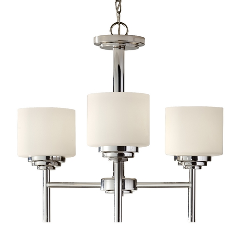 Feiss Lighting Modern Mini-Chandelier with White Glass in Polished Nickel Finish F2765/3PN