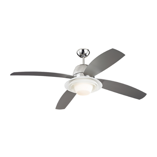 Monte Carlo Fans Modern Ceiling Fan with Light with White Glass in Polished Nickel Finish 4ICR52PND