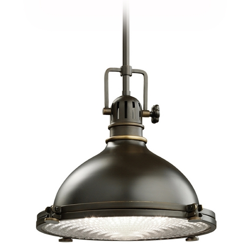 Kichler Lighting Kichler Nautical Pendant Light with Fresnel Glass Lens 2665OZ