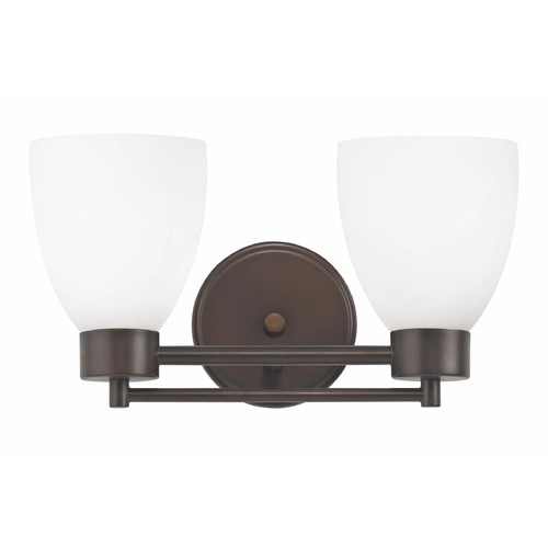 Design Classics Lighting Modern Bathroom Light with White Glass in Bronze Finish 702-220 GL1028MB