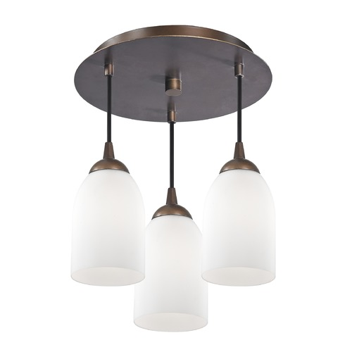 Design Classics Lighting 3-Light Semi-Flush Ceiling Light with White Glass in Bronze Finish - Bronze Finish 579-220 GL1028D