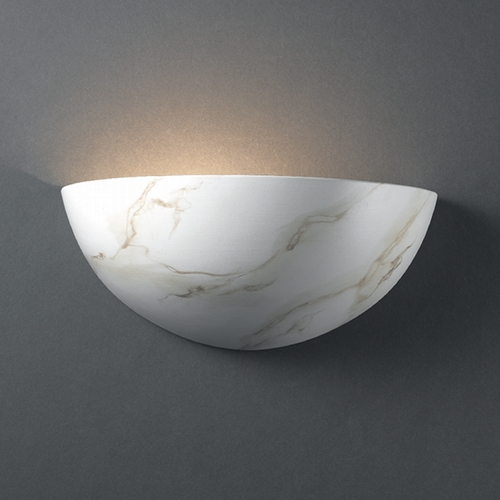 Justice Design Group Sconce Wall Light in Carrara Marble Finish CER-1300-STOC