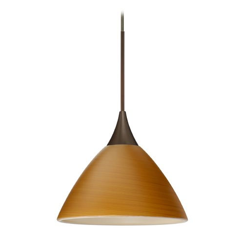 Besa Lighting Besa Lighting Domi Bronze Mini-Pendant Light with Bell Shade 1XT-1743OK-BR