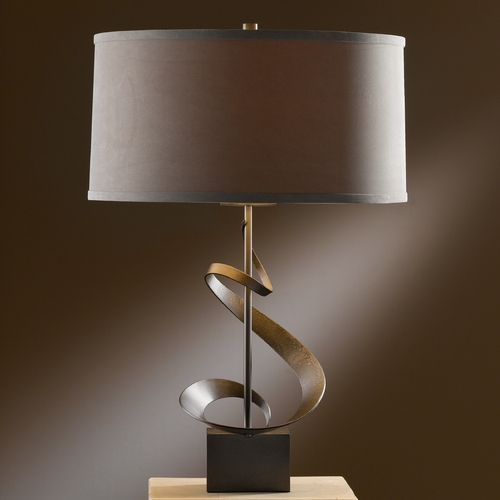 Hubbardton Forge Lighting Hubbardton Forge Lighting Gallery Dark Smoke Table Lamp with Drum Shade 273030-SKT-07-SD1695