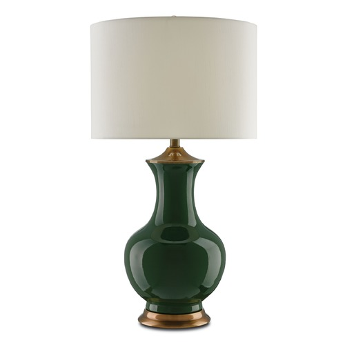 Currey and Company Lighting Currey and Company Lilou Green/antique Brass Table Lamp with Drum Shade 6000-0022