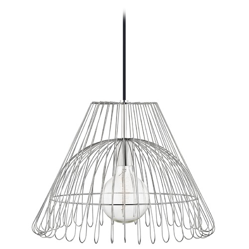 Mitzi by Hudson Valley Mid-Century Modern Pendant Light Polished Nickel Mitzi Katie by Hudson Valley H180701L-PN