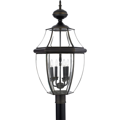 Quoizel Lighting Post Light with Clear Glass in Medici Bronze Finish NY9045Z