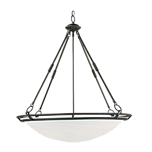 Maxim Lighting Modern Pendant Light with Alabaster Glass Shades in Bronze Finish 2674MRBZ