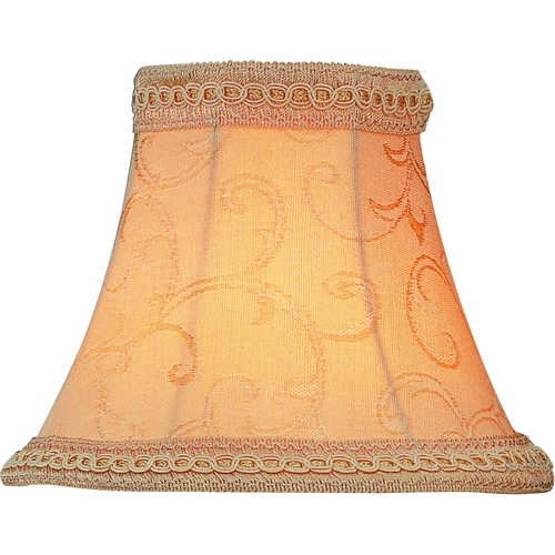 Lite Source Lighting Beige Jacquard W. Trim Bell Lamp Shade with Clip-On Assembly CH513-6