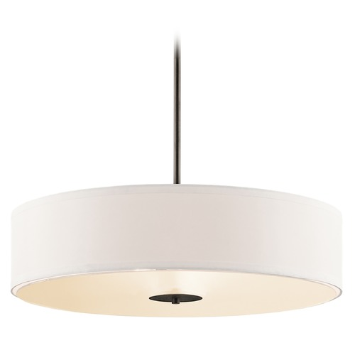 Kichler Lighting Kichler Drum Pendant Light with White Shade in Olde Bronze Finish 42122OZ