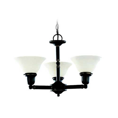 Sea Gull Lighting Chandelier with White Glass in Heirloom Bronze Finish 31060-782
