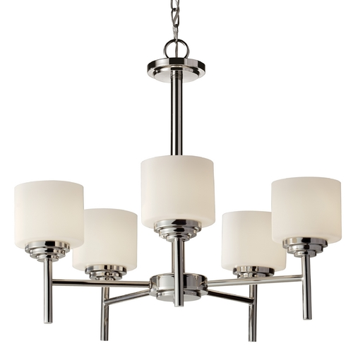 Feiss Lighting Modern Chandelier with White Glass in Polished Nickel Finish F2766/5PN