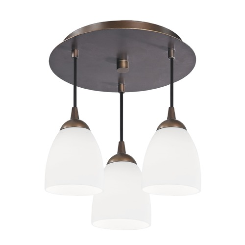 Design Classics Lighting 3-Light Semi-Flush Ceiling Light with White Glass - Bronze Finish 579-220 GL1028MB