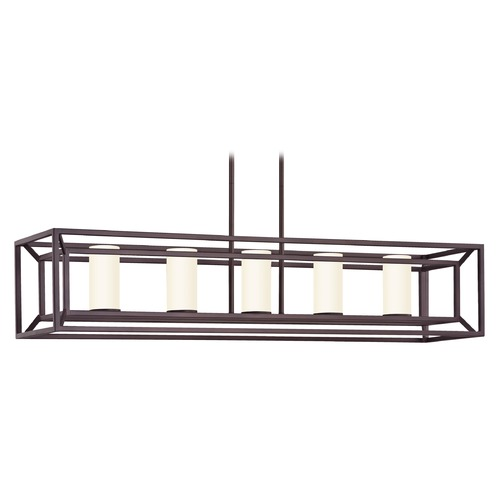 Design Classics Lighting Linear Cage Chandelier in Bronze 1748-30 G174-W