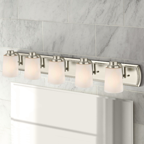 Design Classics Lighting 5-Light Bath Bar in Satin Nickel with White Glass 1205-09 GL1027