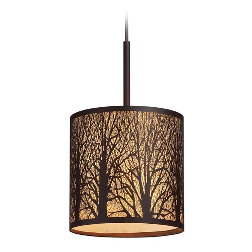 Elk Lighting Elk Lighting Woodland Sunrise Aged Bronze LED Mini-Pendant Light with Cylindrical Shade 31073/1-LED