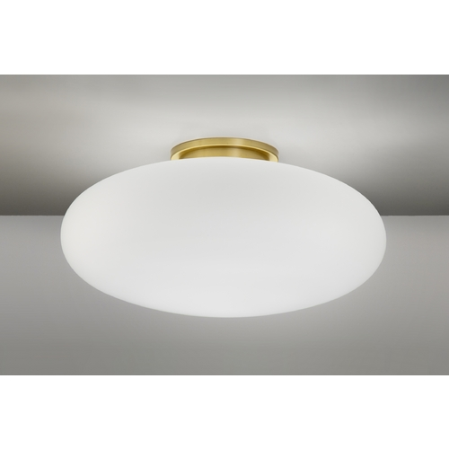 Holtkoetter Lighting Holtkoetter Modern Semi-Flushmount Light with White Glass in Brushed Brass Finish 5402 BB 16SW