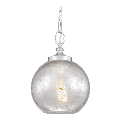 Feiss Lighting Mercury Glass Mini-Pendant Light Polished Nickel Feiss Lighting P1318PN