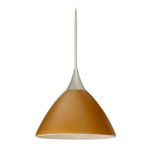 Besa Lighting Besa Lighting Domi Satin Nickel Mini-Pendant Light with Bell Shade 1XT-1743OK-SN