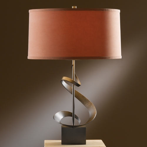 Hubbardton Forge Lighting Hubbardton Forge Lighting Gallery Dark Smoke Table Lamp with Drum Shade 273030-SKT-07-SC1695