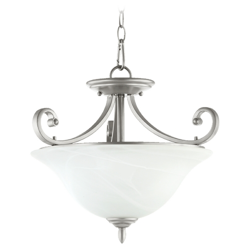 Quorum Lighting Quorum Lighting Bryant Classic Nickel Pendant Light with Bell Shade 2854-18-64