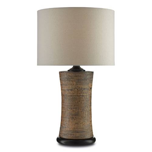 Currey and Company Lighting Currey and Company Malabar Tan/black Table Lamp with Drum Shade 6000-0023