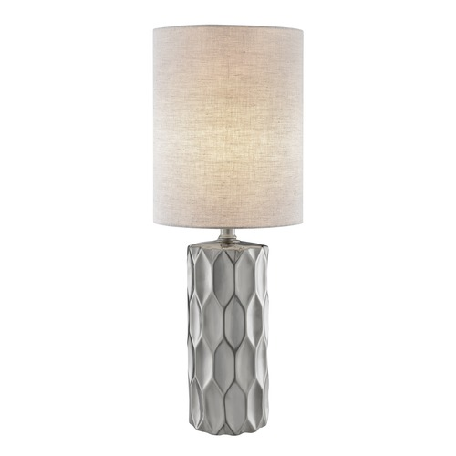 Lite Source Lighting Lite Source Halsey Silver Table Lamp with Cylindrical Shade LS-23190SILV