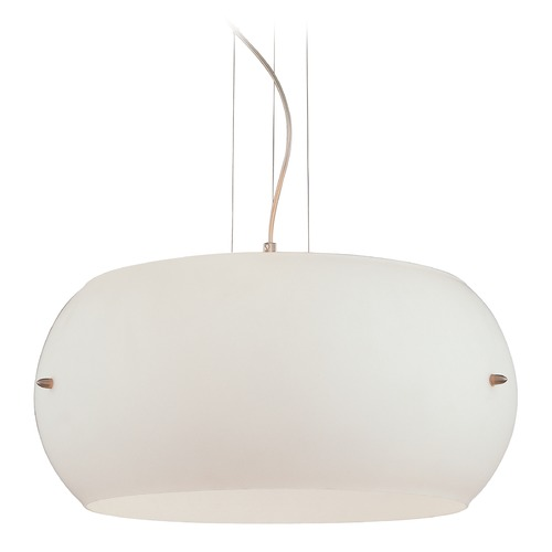 George Kovacs Lighting Modern Drum Pendant Light with White Glass in Brushed Nickel Finish P584-084