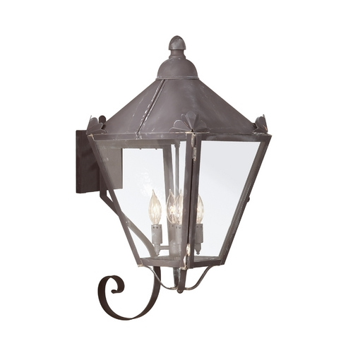 Troy Lighting Outdoor Wall Light with Clear Glass in Charred Iron Finish BCD8946CI