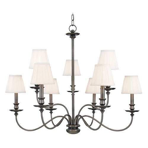 Hudson Valley Lighting Chandelier with White Shades in Antique Nickel Finish 4039-AN