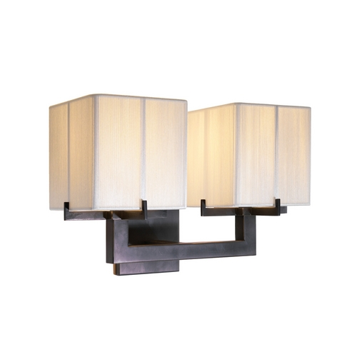 Sonneman Lighting Modern Sconce Wall Light with White Shades in Black Brass Finish 3358.51