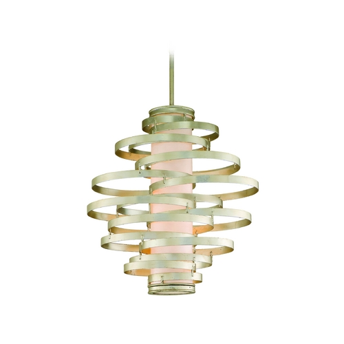 Corbett Lighting Modern Pendant Light with Beige / Cream Glass in Modern Silver Finish 128-44