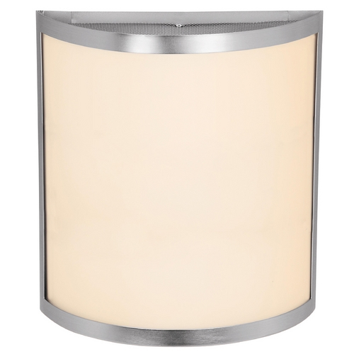 Access Lighting Modern Sconce Wall Light with White Glass in Brushed Steel Finish 20439-BS/OPL