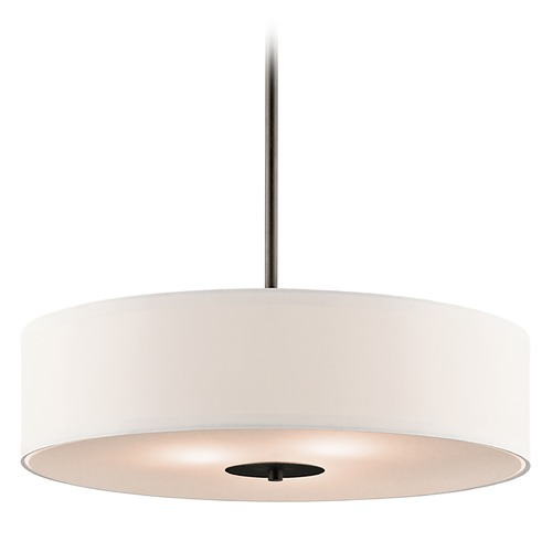 Kichler Lighting Kichler Drum Pendant Light with White Shade in Olde Bronze Finish 42121OZ
