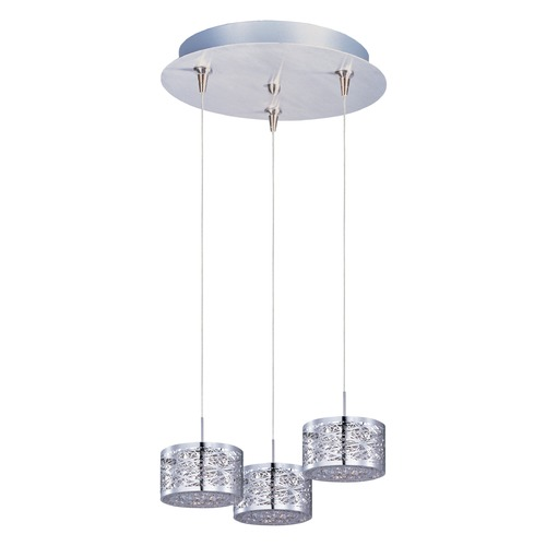 ET2 Lighting Inca Polished Chrome Multi-Light Pendant with Drum Shade E94645-10PC