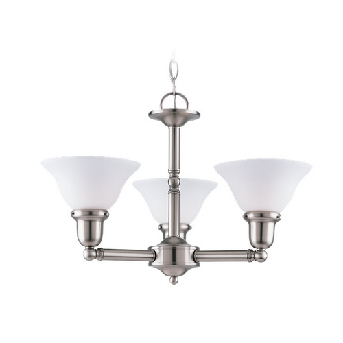 Sea Gull Lighting Chandelier with White Glass in Brushed Nickel Finish 31060-962