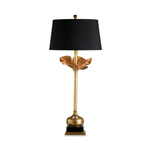 Currey and Company Lighting Table Lamp with Black Shade in Antique Brass Finish 6240